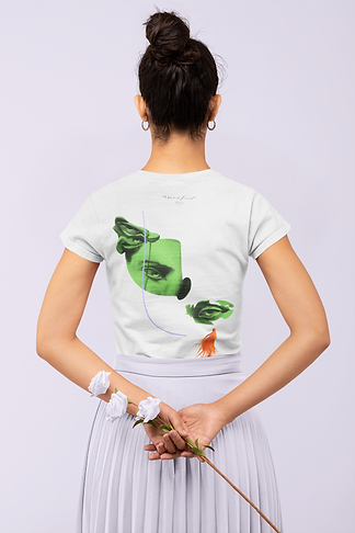 back-view-t-shirt-mockup-featuring-a-woman-holding-some-flowers-in-a-monochromatic-setting