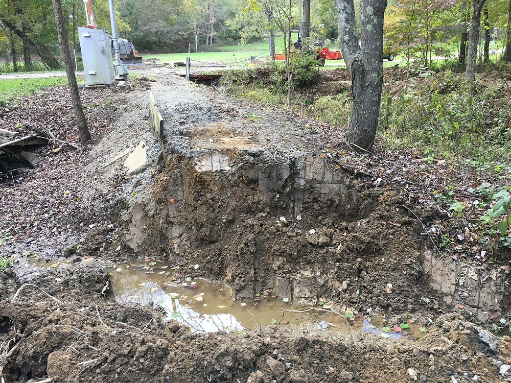What remains of the prior mainline crossing on the north end of the road.  This should improve water flow during high water conditions.