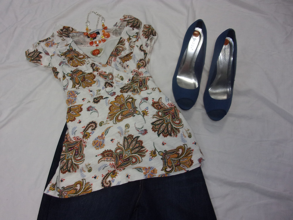 Shirt- Tommy Hilfiger $12.99 Large Shoes- Bamboo $19.99 Size 10  Jeans- N62 $27.50 Size 12 Necklace- $18.75