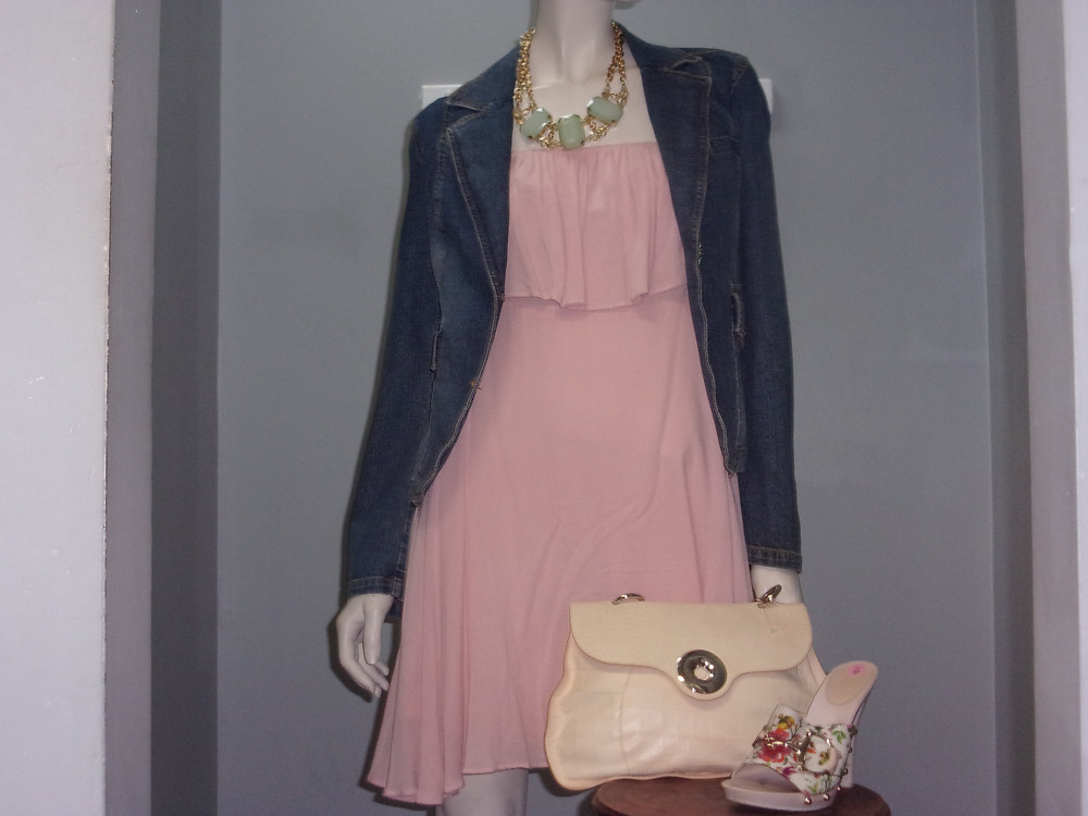 Jacket- itw  $22.50 Size 10 Dress- Onetheland $9.99 Small  Shoes- Gucci $269.99 Size 9 Necklace- $27.50