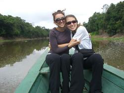 Karine and Erin on Rio Negro-Amazon