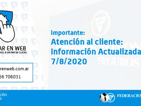 Atención al cliente: Información Actualizada al 7/8/2020