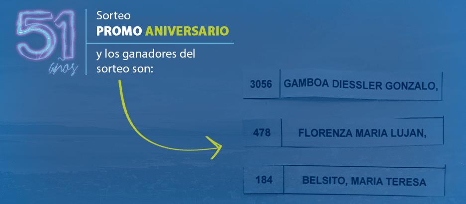 Estos fueron los ganadores del sorteo de la Promo 51 Aniversario de Cotecal
