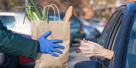 Person receiving donated food