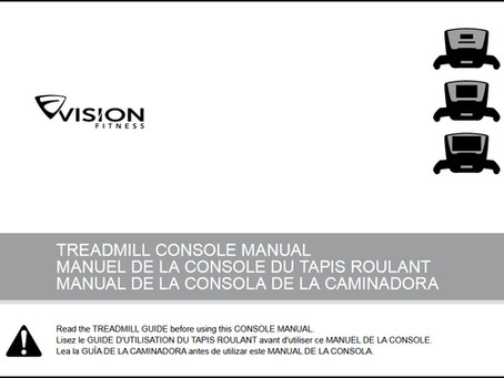 Booklights: Treadmill Console Manual by Vision Fitness