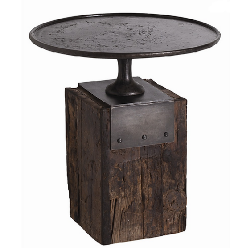 Wood with Forged Iron Side Table