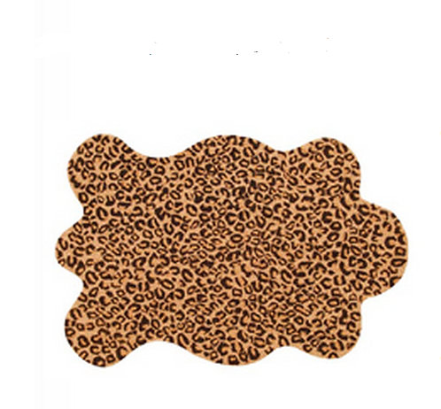 Leopard Skin Shaped Rug Hooked 2 x 3