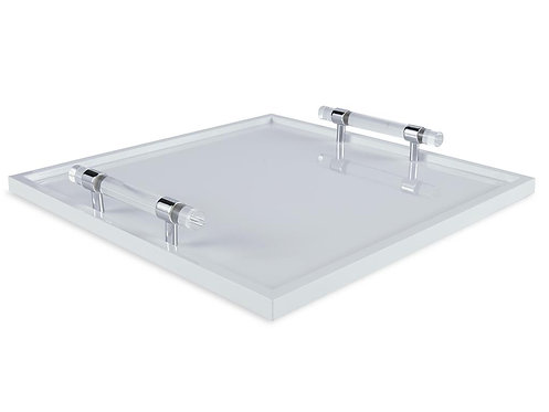White Lacquer Tray with Acrylic Handles