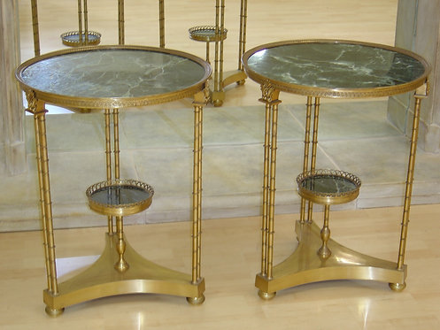 Brass and Green Marble Side Tables 2 Available