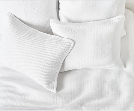 NEW S/5 White Quilt in Queen Channel Stitched w/ Euro /Standard Shams