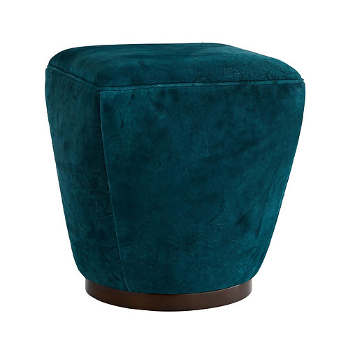 Tapered Leather Ottoman in Peacock Blue