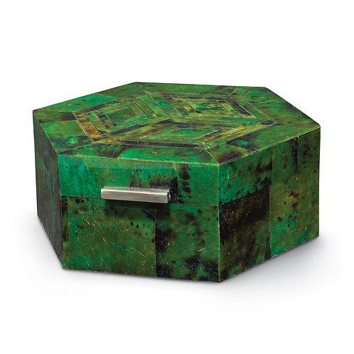 Luxe Octagonal Box  Emerald Penshell