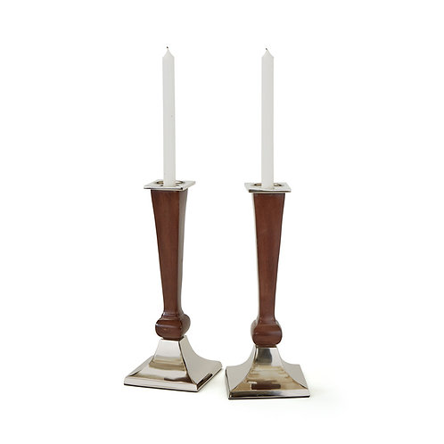 Candlesticks Wood and Polished Nickel