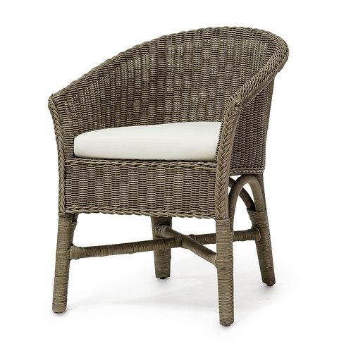 Pair / Braided Wicker Chair in Mushroom