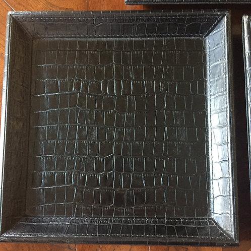 Black Leather Bedside/ Change Trays in Embossed Crocodile Pattern
