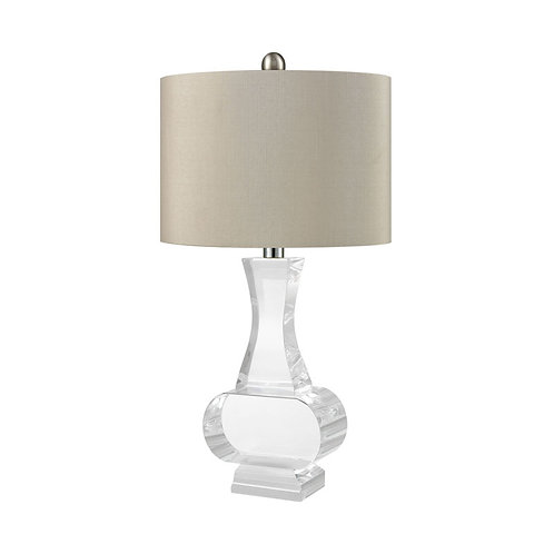 Crystal Table Lamp with Gray Shade