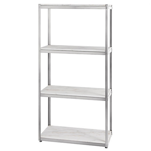 Silver and White Marble Etagere