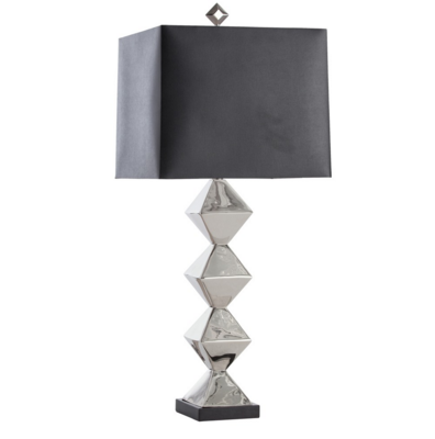 Polished Nickel Stacked Diamond Table Lamp