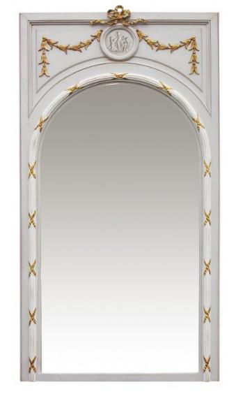 PARIS Grand Miroir De Boiserie Louis XVI in Grey