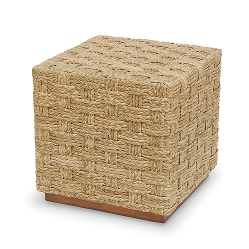 Hand Braided Seagrass Hassock Table