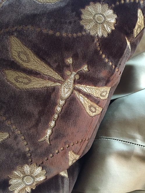 PAIR Chocolate Velvet Dragonfly Pillow