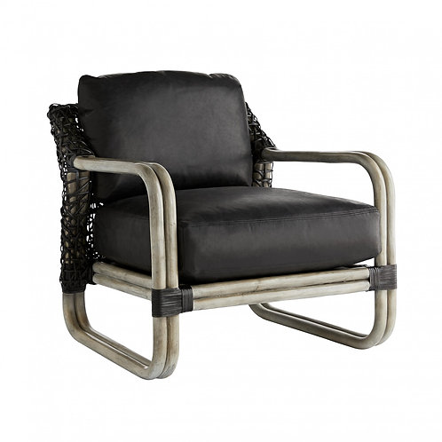 Rattan and Black Leather Lounge Chair