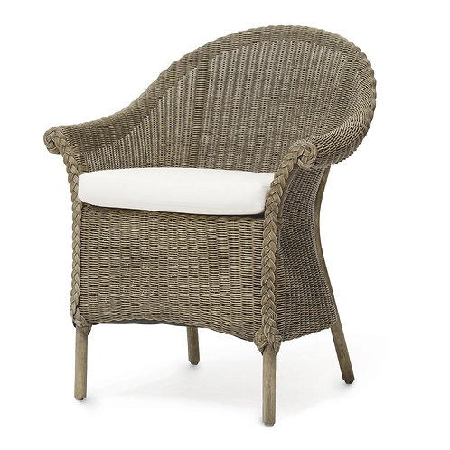 PAIR Woven Rattan Chairs with Seat Cushion