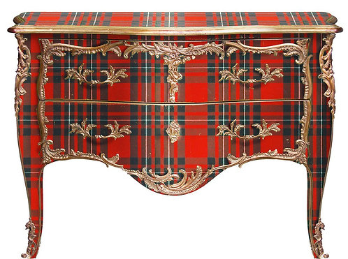 PARIS Commode L. XV Red Plaid