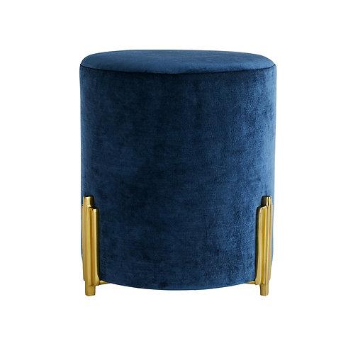 Drum Ottoman in Blue Velvet
