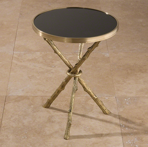 Twig Table Brass and Black Granite