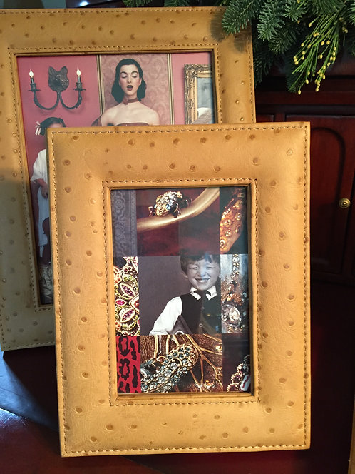 Frame 4 x 6 Custom Embossed Leather Ostrich