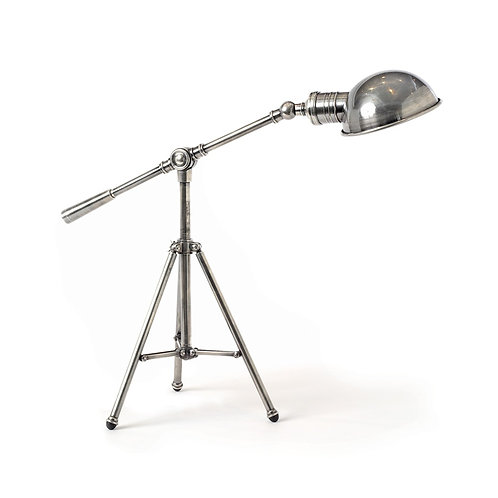 Antique Nickle Tripod Table Lamp