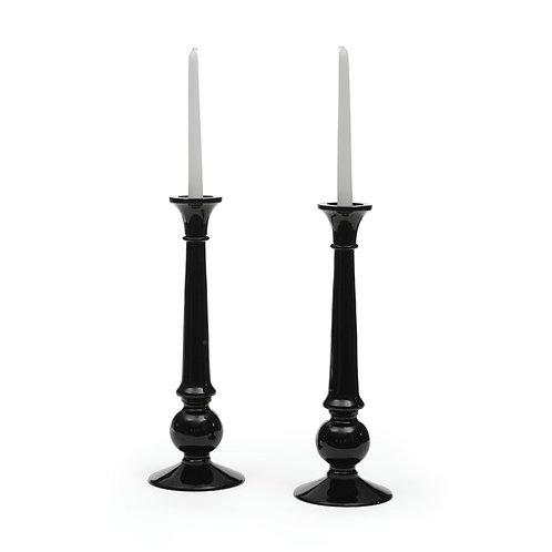 Tall Black Glass Candlesticks Pair