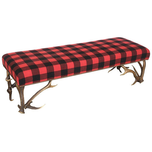 CUSTOM Antler Bench in Wool Black and Red Hunter's Plaid