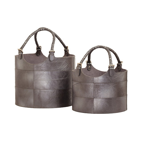 Leather Buckets in Gunmetal Set of Two