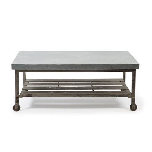 Piercefield Cocktail Table w/ ZincTop and Casters