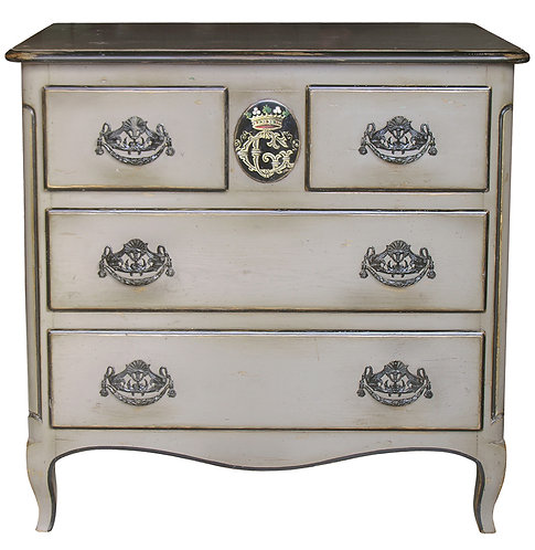 PARIS Commode Medaillon in Taupe and Noir