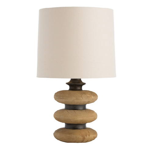 Stacked Wood with Metal Spacers Table Lamp