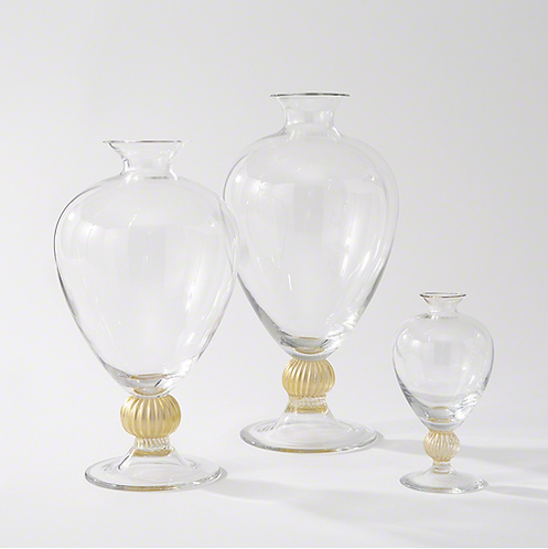 Italian Glass Vases with Gold Set of 3