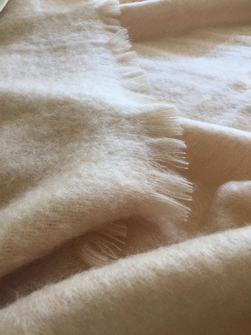 Yves Delorme Beige Mohair Blanket Q/F