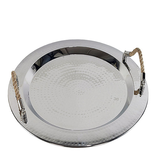 Round Polished Nickel and Jute Tray