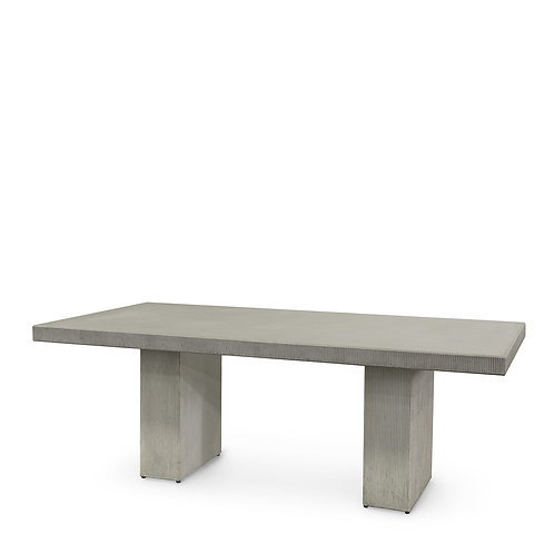 Rectangular Composite Stone Dining Table in Cement Gray