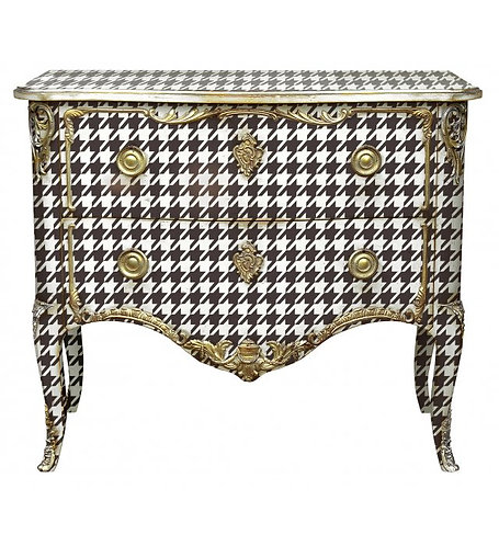 PARIS Commode Transition in Houndstooth