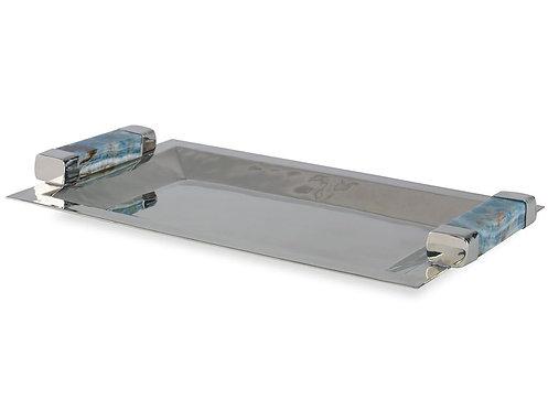 Onyx Handle Silver Tray