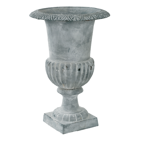 Classic Cast Iron Urn in Antiqued Lead Finish ExLg