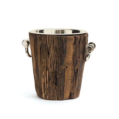 Ice Bucket Wood and Polished Nickel