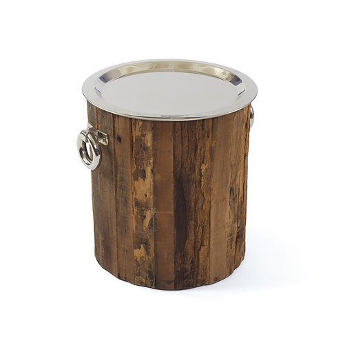 Wood and Silver Side Table