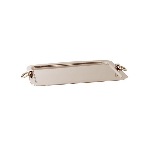 Polished Nickel Tray with Ring Handles Large