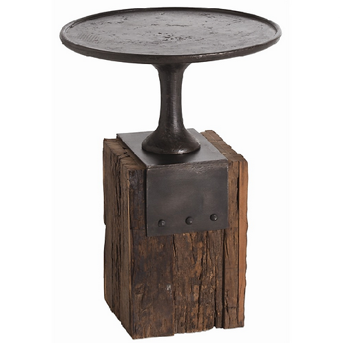 Wood with Forged Iron Occasional Table