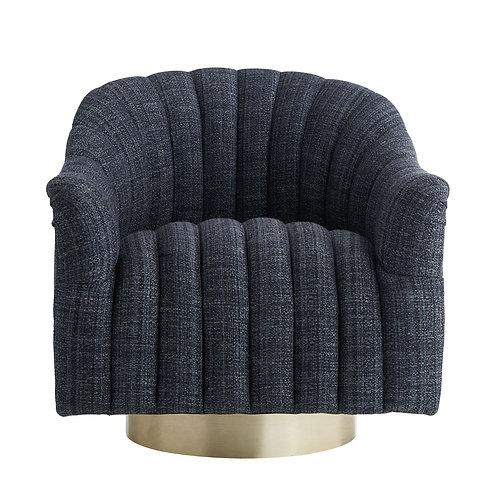 Swivel Chair in Indigo Tweed